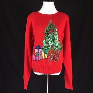 Ugly Christmas Sweater Shiny Tree Jingle bells